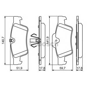 Комплект тормозных колодок, дисковый тормоз 0986494256 bosch - MERCEDES-BENZ M-CLASS (W164) вездеход закрытый ML 350 4-matic (164.186)