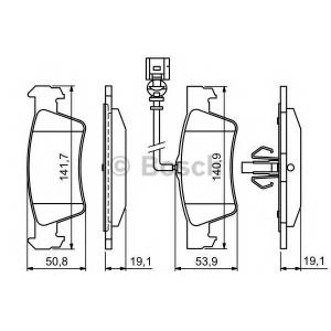 Комплект тормозных колодок, дисковый тормоз 0986494309 bosch - VW TRANSPORTER V c бортовой платформой/ходовая часть (7JD, 7JE, c бортовой платформой/ходовая часть 3.2 V6