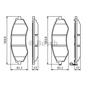 Комплект тормозных колодок, дисковый тормоз 0986494343 bosch - DAEWOO NUBIRA седан (KLAN) седан 1.6