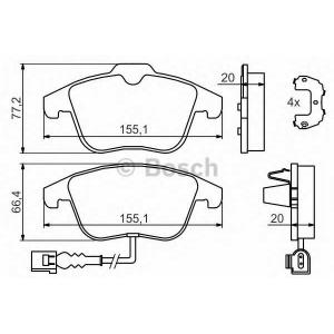 Комплект тормозных колодок, дисковый тормоз 0986494372 bosch - VW TIGUAN (5N_) вездеход закрытый 1.4 TSI