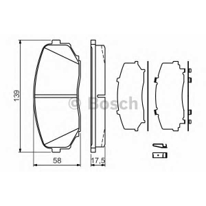 Комплект тормозных колодок, дисковый тормоз 0986494375 bosch -