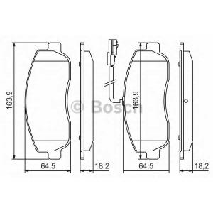 BOSCH 0 986 494 498 Колодки тормозные дисковые, комплект  (Пр-во Bosch)