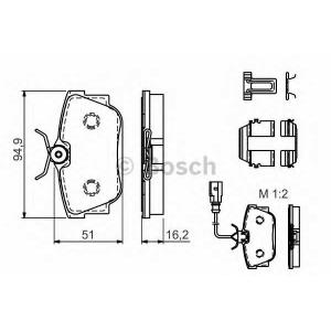 BOSCH 0986494529 Гальмівні колодки VW T4, Sharan Rear