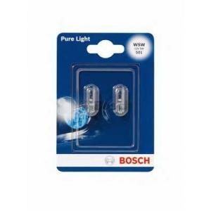 BOSCH 1 987 301 026 Лампа 12V 5W W5W  W2,1x9,5d PURE LIGHT 2шт blister (пр-во Bosch)