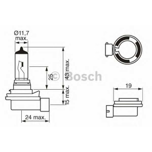 BOSCH 1 987 302 081 Лампа накаливания  H8 12V 35W PGJ19-1 PURE LIGHT (пр-во Bosch)