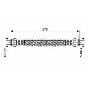 Тормозной шланг 1987476850 bosch - HYUNDAI GETZ (TB) Наклонная задняя часть 1.3