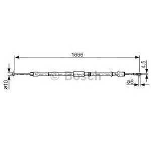 Трос, стояночная тормозная система 1987482032 bosch - MERCEDES-BENZ SPRINTER 3,5-t автобус (906) автобус 319 CDI (906.731, 906.733, 906.735)