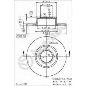 BREMBO 08.2953.20 Тормозной диск Опель Кадет
