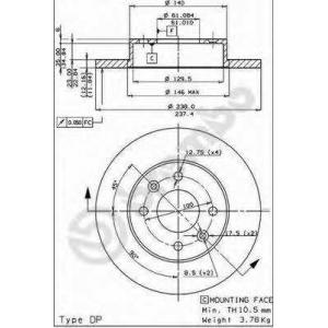 Тормозной диск 08295814 brembo - RENAULT SUPER 5 (B/C40_) Наклонная задняя часть 1.4 (B/C402)
