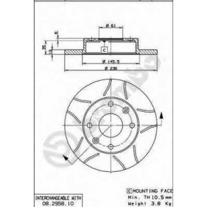 BREMBO 08.2958.75 Тормозной диск Дача 1310