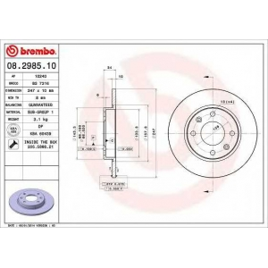 BREMBO 08.2985.10 Тормозной диск Ситроен С15