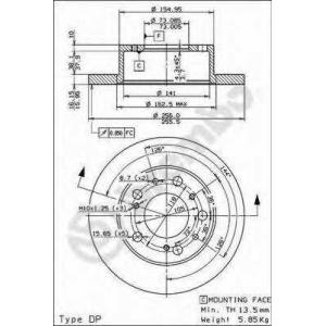 BREMBO 08.3069.14 Тормозной диск Фиат Таленто