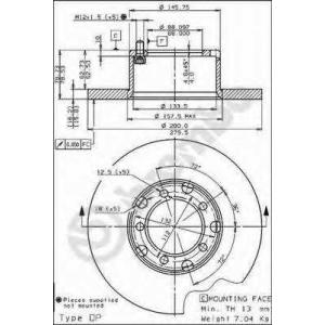BREMBO 08.3959.20 Тормозной диск Мерседес