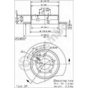 Тормозной диск 08473824 brembo - MERCEDES-BENZ C-CLASS (W202) седан C 200 D (202.120)