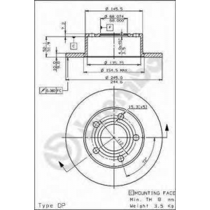 BREMBO 08487420 Тормозной диск