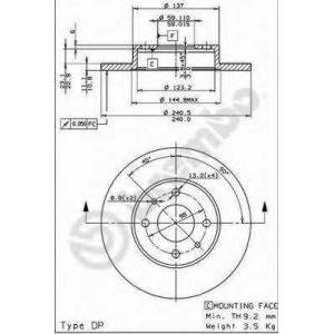 BREMBO 08.5085.14 Тормозной диск Фиат Темпра