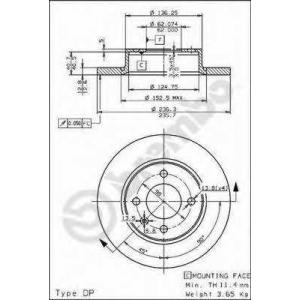 Тормозной диск 08524310 brembo - SKODA FAVORIT (781) Наклонная задняя часть 1.3 135L (781)