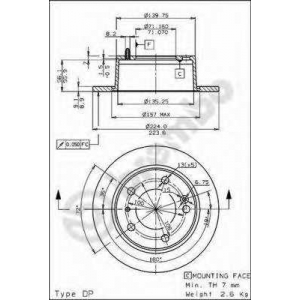 BREMBO 08.5352.10 Тормозной диск Ситроен Хм