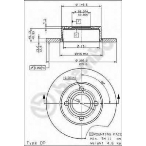 BREMBO 08571410 Тормозной диск