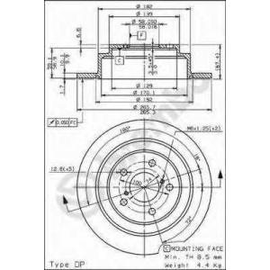 Тормозной диск 08689714 brembo - SUBARU LEGACY I (BC) седан 1800 4WD