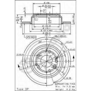 BREMBO 08.6898.10 Тормозной диск Акура Легенд