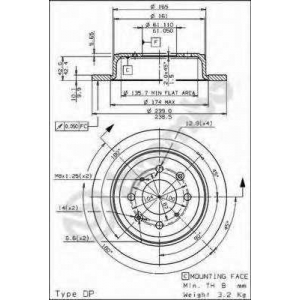 BREMBO 08710414 Тормозной диск