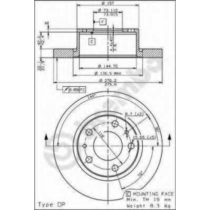 BREMBO 08721910 Тормозной диск