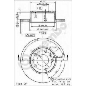 BREMBO 08730020 Тормозной диск
