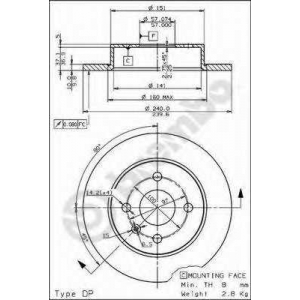Тормозной диск 08762610 brembo - OPEL ASTRA G Наклонная задняя часть (F48_, F08_) Наклонная задняя часть 1.2 16V