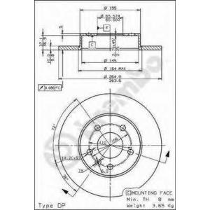 BREMBO 08.7627.75 Тормозной диск Шевроле Зафира