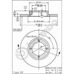 BREMBO 08.7822.10 Тормозной диск Дэу Матиз