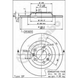 BREMBO 08.8682.10 Тормозной диск
