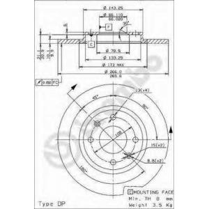 BREMBO 08.9600.24 Тормозной диск Ситроен Бх Брейк