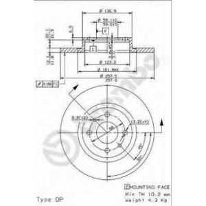 BREMBO 08.9621.14 Тормозной диск Фиат Темпра