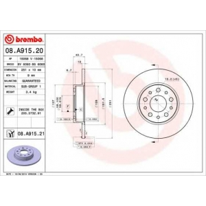 BREMBO 08.A915.20 Тормозной диск Фиат 500Л