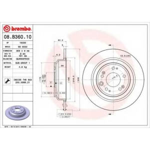 08b36010 brembo Тормозной диск HONDA ACCORD седан 2.0 i