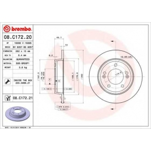 BREMBO 08.C172.20 Тормозной диск