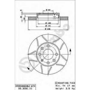 Тормозной диск 09309075 brembo - DAEWOO CIELO (KLETN) Наклонная задняя часть 1.5