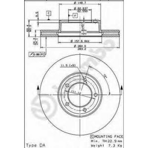 BREMBO 09.3825.10 Тормозной диск Ягуар