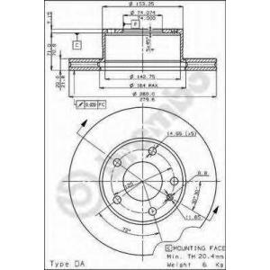 BREMBO 09.3949.10 Тормозной диск Бмв 5