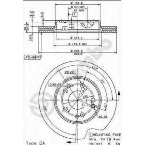 BREMBO 09.4869.34 Тормозной диск Мерседес 190
