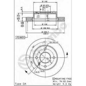 BREMBO 09.4914.34 Тормозной диск Форд Сиерра