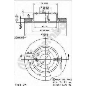 BREMBO 09.4947.20 Тормозной диск Опель Омега