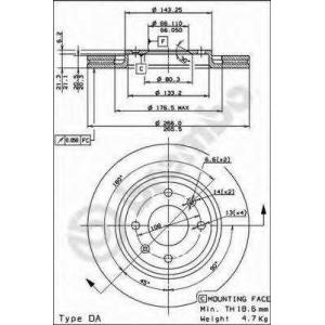 BREMBO 09.4987.21 Тормозной диск Ситроен Бх