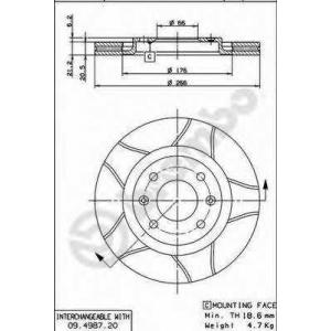 BREMBO 09.4987.76 Тормозной диск Ситроен Бх