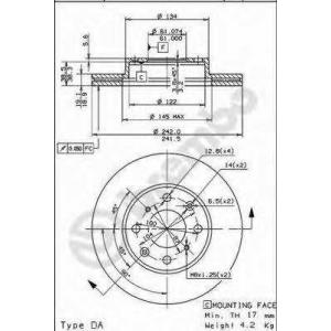 BREMBO 09.5023.10 Тормозной диск Акура