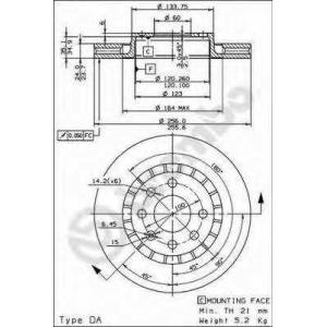 ��������� ���� 09514824 brembo - OPEL KADETT E ��������� ������ ����� (33_, 34_, 43_, 44_) ��������� ������ ����� 1.8 GSI