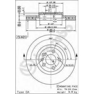 BREMBO 09.5180.24 Тормозной диск Лансия