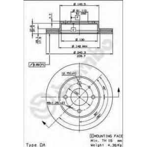 BREMBO 09525310 Тормозной диск