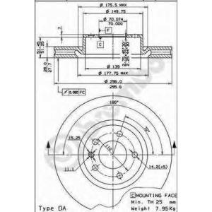 BREMBO 09.5749.11 Тормозной диск Опель Омега